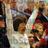 Proud Mom: Karen Smith, Mother of Terre Haute South player Krista Smith cheers the team's success early on in their game with Ben Davis.