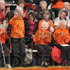 Tribune-Star/Joseph C. Garza<br /> Tiger from the '20s: Paris, Ill., High School 1928 graduate Catherine Bridwell, second left, waves to the crowd as she is applauded Sunday during the school's 100-year celebration.