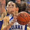 Loking up: ISU's Shannon Thomas looks for a way around Northern Iowa defender Lizzie Boeck.