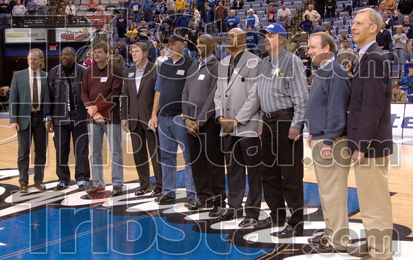 '79 Sycamores: Members of the NCAA Runner-up team are introduced to fans at half-time Saturday afternoon at Hulman Center.