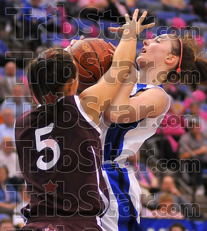 Smothered: Kelsie Cooley finds her way blocked by Lady Bear Casey Garrison.
