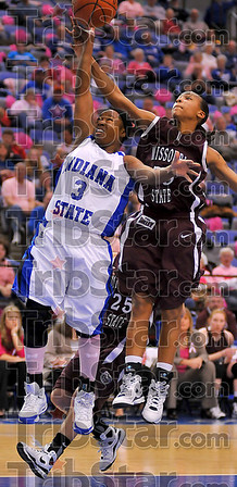 Not here: Bianca Jarrett has her break away layup blocked by Jaleshia Roberson. No foul was called on the play.