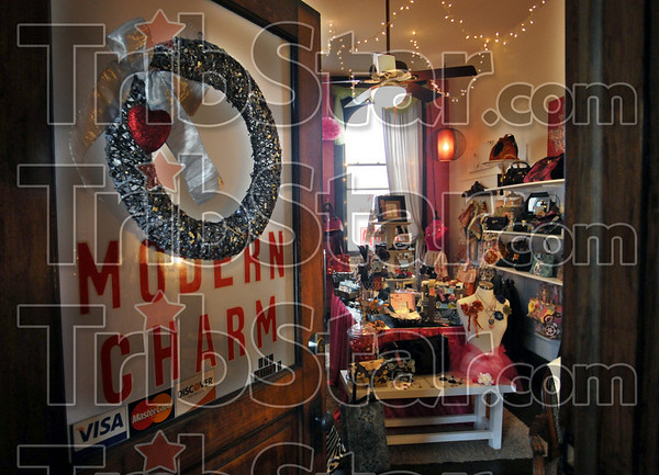 Detail: Interior of the Modern Charm shop located on the second floor of the Crossroads Cafe building in downtown Terre Haute.