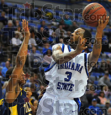 Two more: Rashad Reed looks to add to the Sycamore's total.