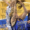 Tribune-Star file photo/Joseph C. Garza<br /> Denied: Indiana State's Kelsie Cooley blocks a shot attempt by Creighton's Kristina Voss during the Sycamores' 56-54 win Saturday, Jan. 3 at Hulman Center.