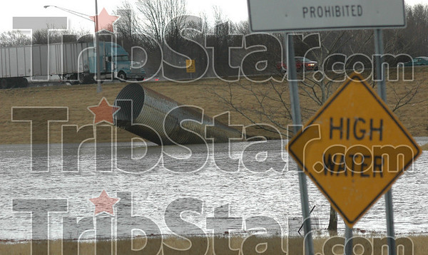 Flooded: A culvert along I-70 at the westbound on-ramp from SR 46 washed out Wednesday afternoon causing the ramp to be closed.