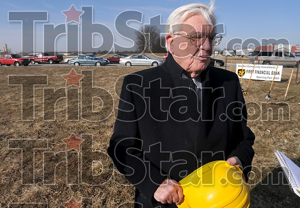 Tribune-Star/Joseph C. Garza<br /> 49th for FFB: Don Smith, First Financial Corporation president and chairman, talks to the media about the bank's new branch at 2425 South State Road 46 Tuesday after a groundbreaking ceremony.