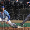 Tribune-Star/Joseph C. Garza<br /> It's a stretch: Indiana State first baseman Brian Jett stretches for the throw to first base as St. Louis University's Cody Cotter tries to beat it Tuesday at Sycamore Field.