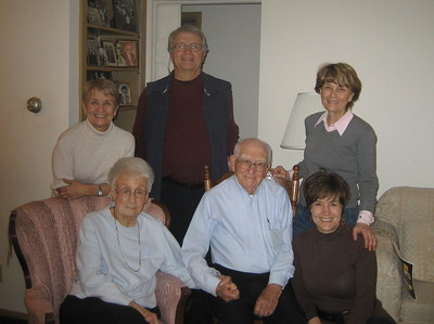 Papa Frank's 95 Birthday Party: Gramma and Papa with Jeanne, Ben, Jani, Joanne