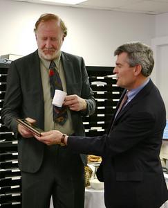 Artist John Rankin donates several pieces of Art for Gardner-Webb to house in February, 2009.