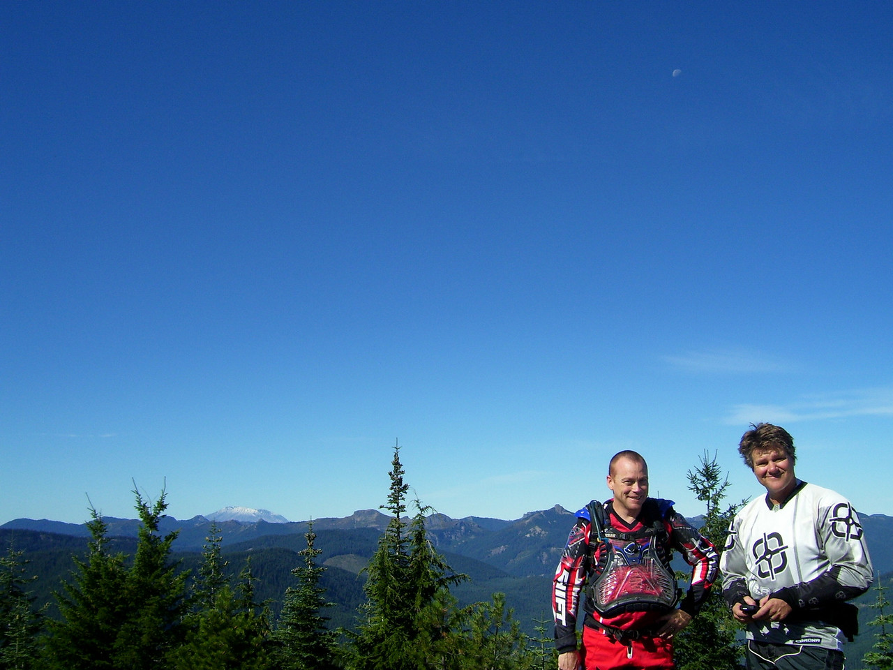 Mt. St Helens, Mike, Moon above, & Mark