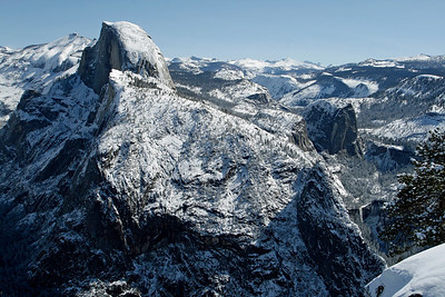 Merced Canyon to the right of Half Dome with Nevada and Vernal Falls.