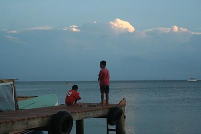 Kids fishing off the dock