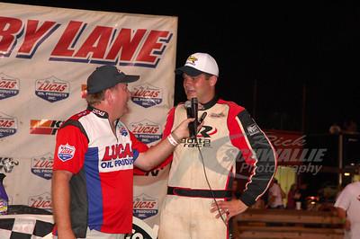 Brad Neat is interviewed by James Essex in Victory Lane @ Hagerstown Speedway