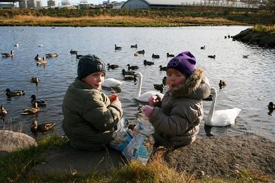 Frændsystkinin Róbert Máni og Karen Lóa