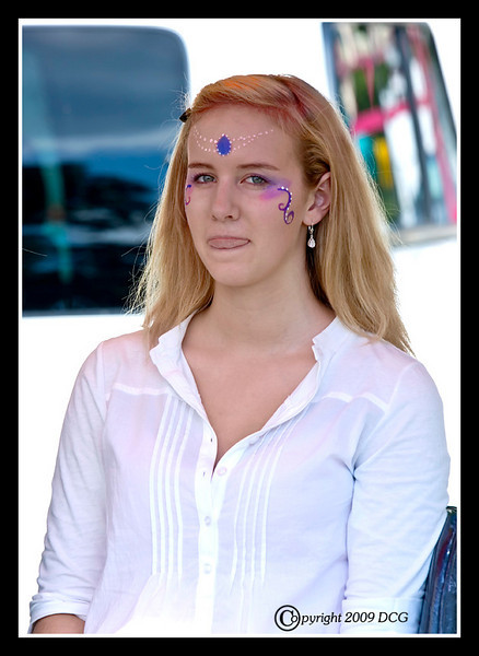 Girl getting her face painted at the 28th Annual Pittsfield NH Rotary's Hot Air Balloon Rally 2009