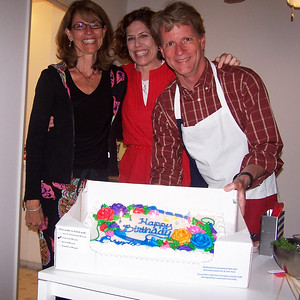 Brenda, Leslie (who organized the cake so Brenda would be surprised - thank you Leslie!), and me