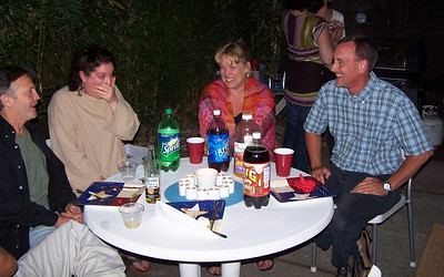 Dave (met through Benita), Benita (originally met through hearing her music), Kristine (also met through Benita) and Jeff (old HP friend). Kristine and Jeff, who had never met, figured out that they'd gone to the same elementary school in Palo Alto, one year apart, had most of the same teachers, and knew lots of the same kids