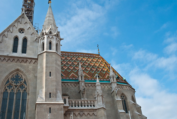 Matthias Church is a neo-gothic style Church. The roof is made from thousands of colored ceramic circular tiles. Most of them are the originals!