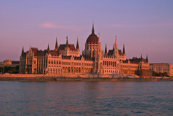 Parliament at sundown, seen from our Danube river cruise.