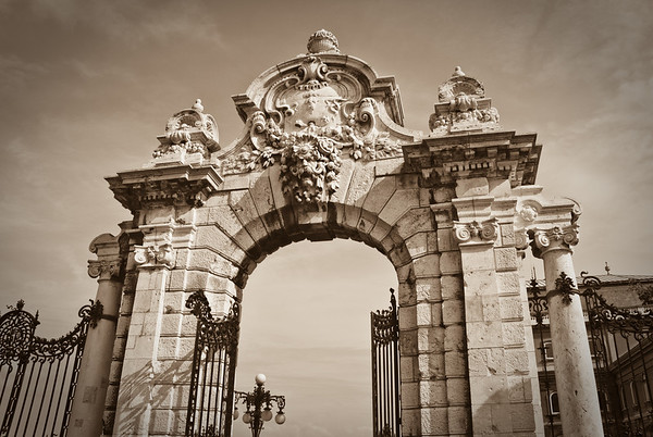 One of the neat looking gates at the entrance to the Royal Palace.  I think I like this photo better in sepia.