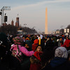 Crowds stretching back toward the Washington Monument