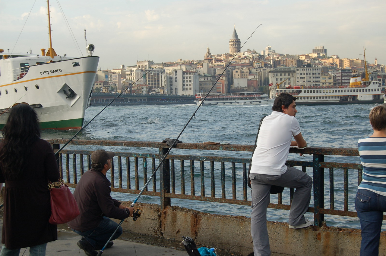 Fishermen near Galata Bridge