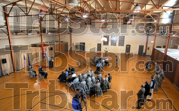 Transfer: The Indiana National Guard presented Indiana State University with the key to the Armory located at 9th and Eagle during a ceremony Thursday morning.