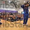 "Tribune-Star/Joseph C. Garza<br /> How it's done: Harlem Globetrotter Herbert ""Moo Moo"" Evans shows off his ball handling skills at the end of his presentation Thursday at Rio Grande Elementary."
