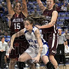 Double teamed: Indiana State's #31, Kelsie Cooley is defended by Southern's #15,  Karlee Myers and #32, Olivia Lett during first half action at Hulman Center.