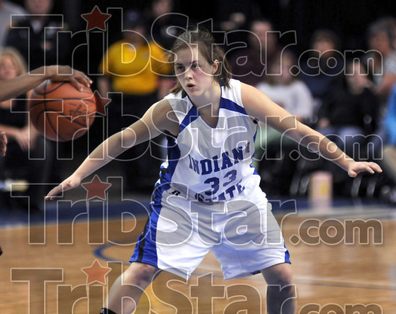 Intense: Indiana State guard Kelsey Luna defends a Southern Illinois player during first half action at Hulman Center.