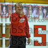 First time: HEad coach of the Terre Haute South girl's basketball team Dave Cassell directs practice Thursday afternoon.