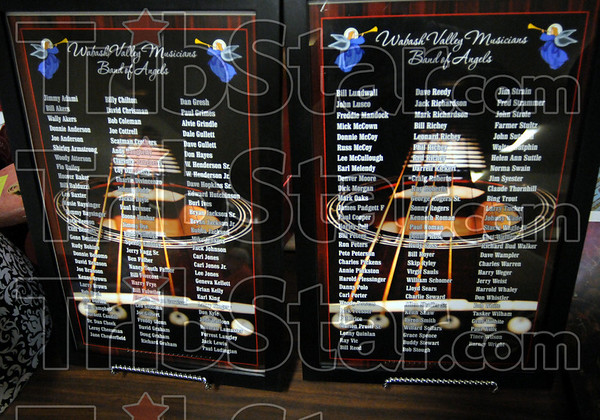 Band of Angels: Detail photo of the list of deceased Hall of Fame members on display during the 16th annual Musician's Hall of Fame induction ceremony.