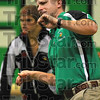 body english: West Vigo wrestling coach Scott Rohrbach gives it his all from the sidelines in the Vikings cross county match with Terre Haute South monday night in the Vikings' gym.