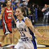 Tribune-Star/Joseph C. Garza<br /> Redbirds downed: Indiana State guard Kelsey Luna runs up to her teammates on the bench to celebrate the team's 72-65 win over Illinois State Saturday at Hulman Center.