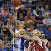 Intentional foul: Indiana State's Brittany Schoen is shoved in the back by Illinois State's Ashley Sandstead during the Sycamores' 72-65 win Saturday over Illinois State at Hulman Center.