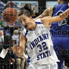 Vocal: Indiana State's rough and tumble forward Kara Schilli yells at the ball as it flies past on an errant pass by a teammate during first half action at Hulman Center.