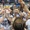 Post game: The Indiana State women's basketball team celebrates after beating Creighton in the final moments of a hard fought game Saturday afternoon at Hulman Center.
