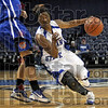 Off her feet: A Creighton defender is left standing on air as Indiana State's Bianca Jarrett uses her quickness to take the ball to the basket and score Saturday afternoon at Hulman Center.