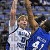 Tribune-Star/Joseph C. Garza<br /> The battle above: Indiana State's Brant Leitnaker tries to shoot over Creighton's Kenton Walker as Walker gets a hand on the ball during the Sycamores' loss Wednesday at Hulman Center.