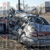 Fatal crash: The remains of a vehicle struck at a rural CSX crossing in Carlisle, Indiana shows the power of impact. The driver was killed attempting to cross the tracks at a private driveway.