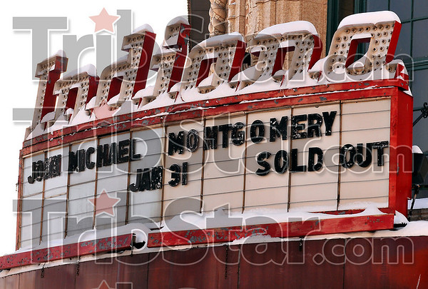 Big Draw: The marquee of the Indiana Theater announces the Saturday night concert of John Michael Montgomery is sold out.