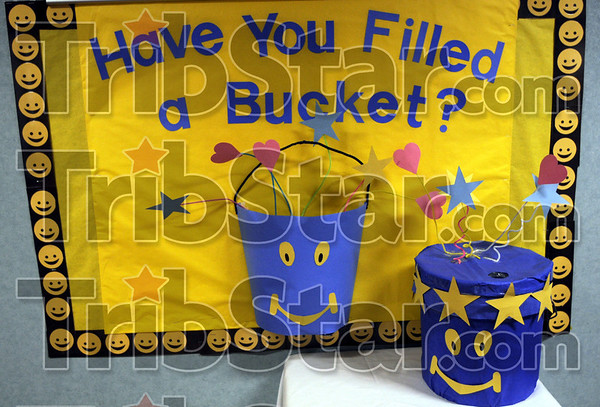 Display: A display of buckets in the hall of Deming Elementary school for the program that teaches anti-bullying.