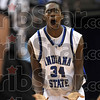 Tribune-Star/Joseph C. Garza<br /> Who? Me?: Indiana State's Carl Richard reacts to being called for a foul by an official during the Sycamores' game against Southern Illinois Wednesday, Jan. 21 at Hulman Center.