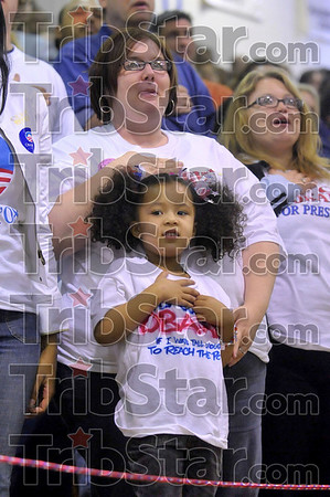 Tribune-Star file photo/Joseph C. Garza<br /> The pledge: Three-year-old Caizia Strong stands to say the Pledge of Allegiance with her mom, Addey Strong, before then-democratic presidential candidate Barack Obama took the stage Friday, April 11, 2008 in the Terre Haute North High School gym.