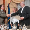 Tribune-Star/Joseph C. Garza<br /> Thanks for 71: Mayor Duke Bennett congratulates Bert Williams, Jr., and his wife Patty, on the Williams' 71 years of service in the real estate business Wednesday at the Holiday Inn.