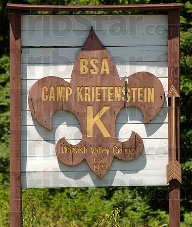 This way: An aged sign directs scouts and their families to Camp Krietenstein.