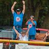 Tribune-Star/Joseph C. Garza<br /> Home run hooray: North Terre Haute Little League fans celebrate a home run hit by Jonathan Eilbracht during the team's game against McCutcheon in the semifinal game Thursday at the Terre Haute North Little League Ballpark.