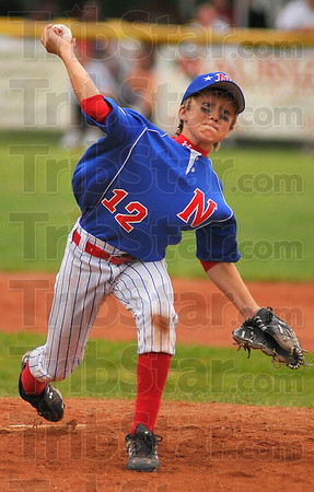 Finishing up: Jonathan Eilbracht came on in relief to finish pitching the championship game for Terre Haute North.
