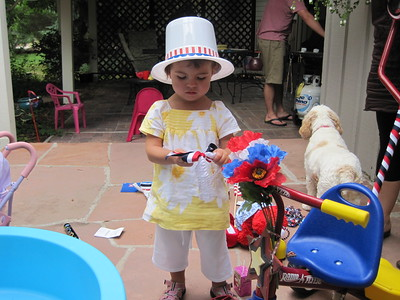 Mia Getting Ready for 4th of July Bike Parade